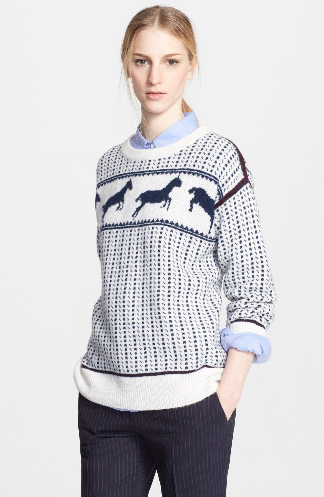 Band of Outsiders 'Fair Isle Horses' Wool Blend Sweater ...