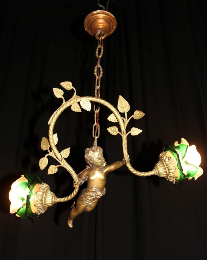 Antique unique french bronze cherub chandelier with bow with leaves antique unique french bronze cherub chandelier with bow with leaves and shades arubaitofo Gallery