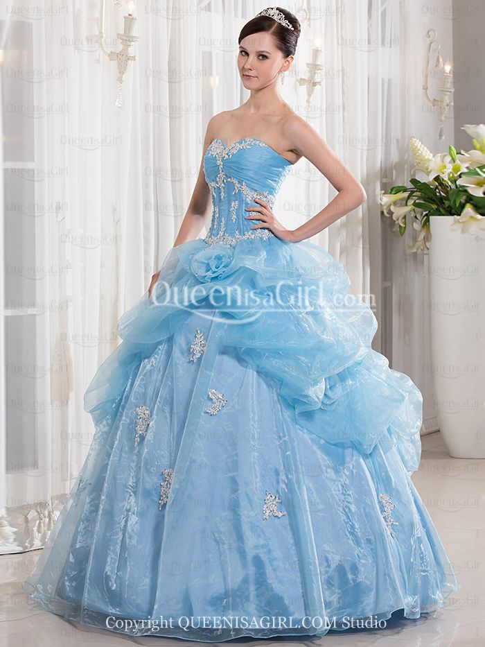 Ball Gown Princess Strapless Sweetheart Long / Floor-Length Taffeta Organza Quinceanera Dress front back detail and photogallery