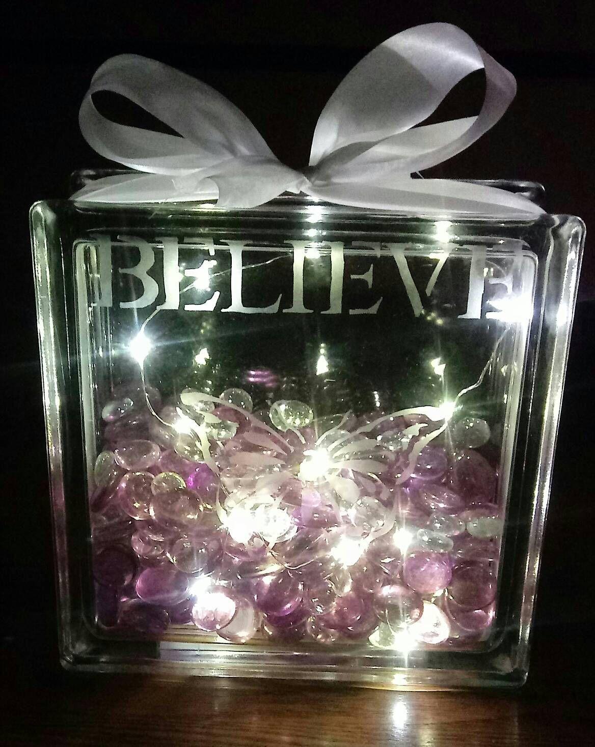 Decorative Purple Believe Glass Light Box By Journeyrosecreations On Etsy