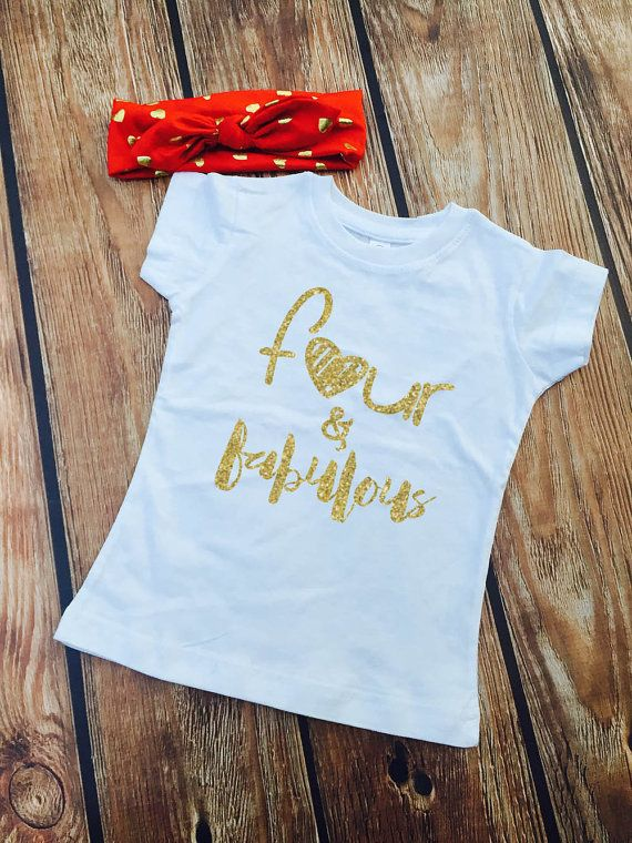 Four Amp Fabulous SHIRT ONLY Girls Birthday Shirt By VazzieTees Glitter Fourth
