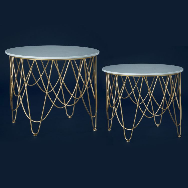 طاولة زينة رخام طقم من قطعتين ذهبي Side Table Table Home Decor