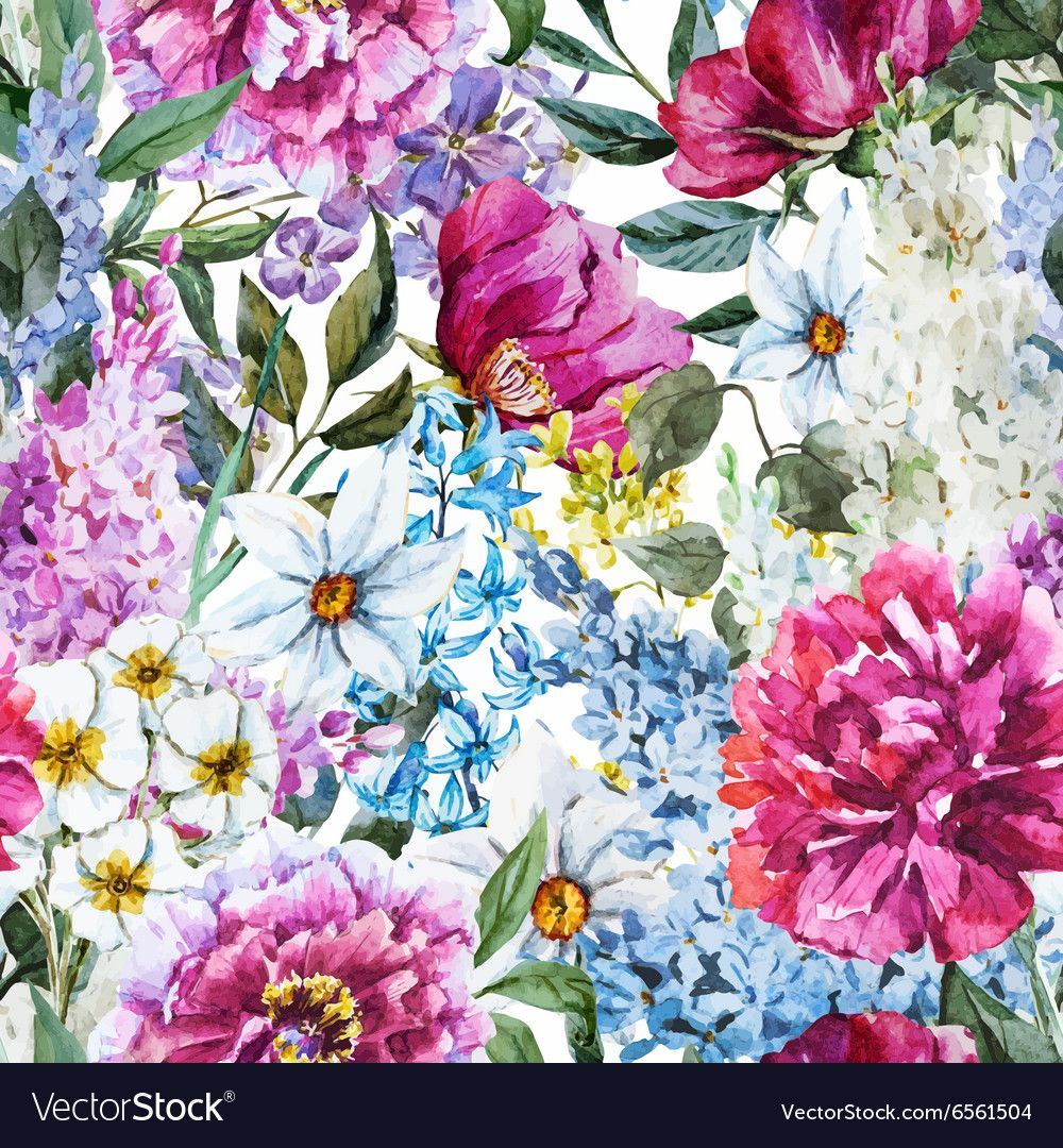 Watercolor Floral Pattern Vector Image On Watercolor Flowers