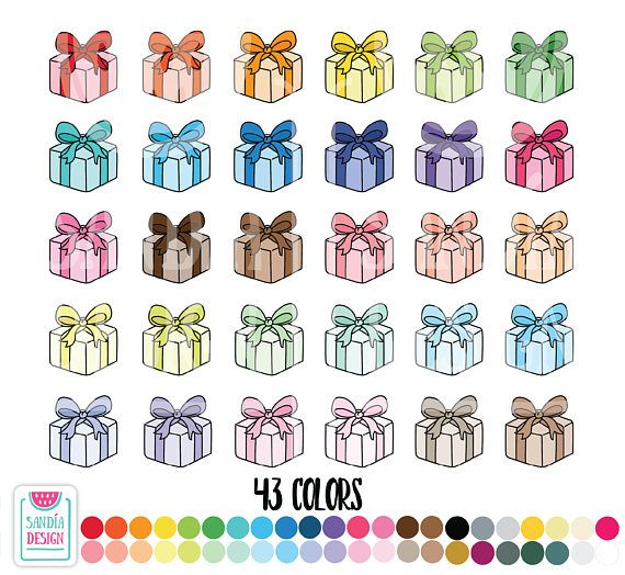 Doodle Birthday Gift Clipart Personal And Comercial Use