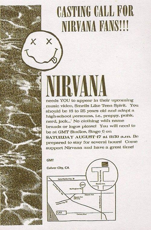 Casting Call for Nirvana's Smells Like Teen Spirit Video Shoot....... I'm so jealoussss!!