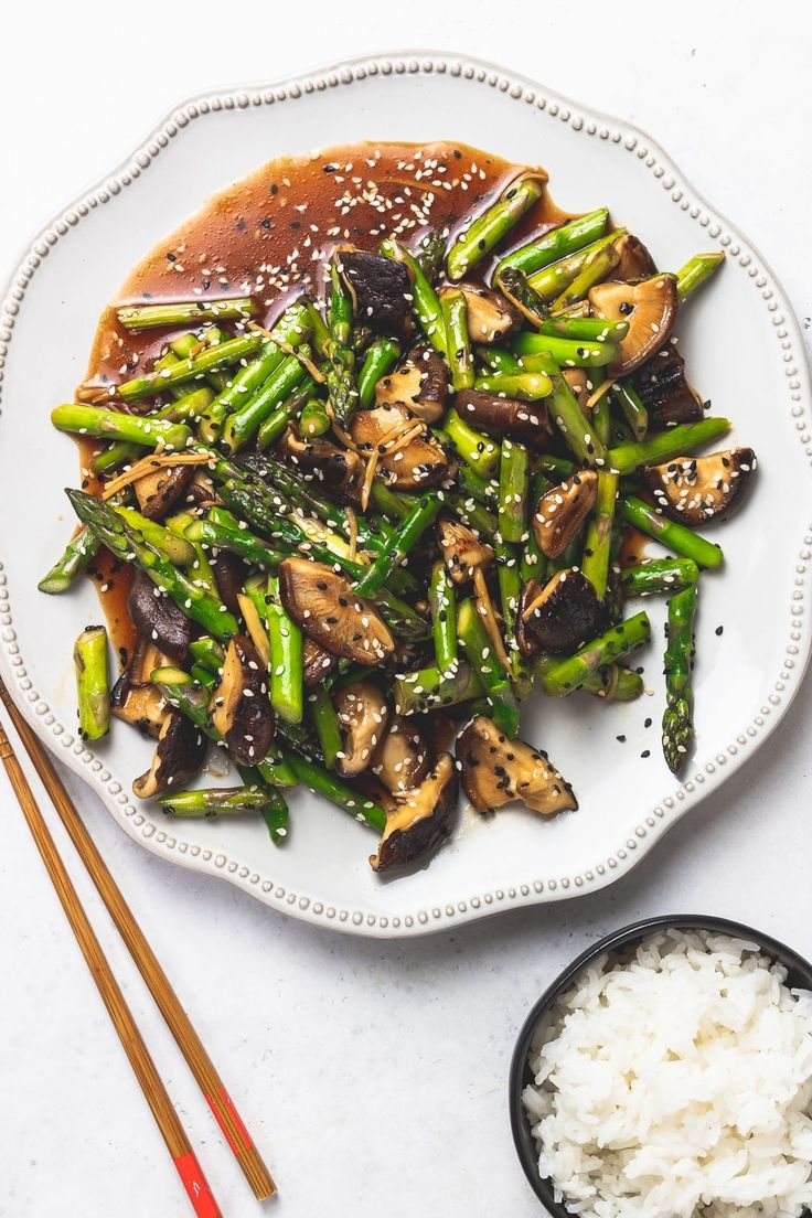 healthy recipes blog Asparagus Mushroom Stir Fry        Need a quick and easy weeknight meal that's healthy and delicious? This super fast vegan stir fry is just the ticket. Asparagus Mushroom stir fry is the fifteen minute recipe you need in your life. Get the deets at !