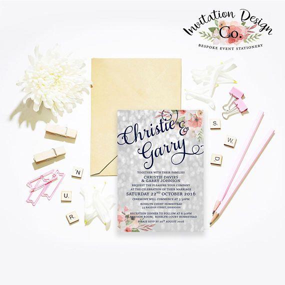 Bokeh Flowers Wedding: Digital Wedding Invitation Silver & Navy Bokeh And Pink