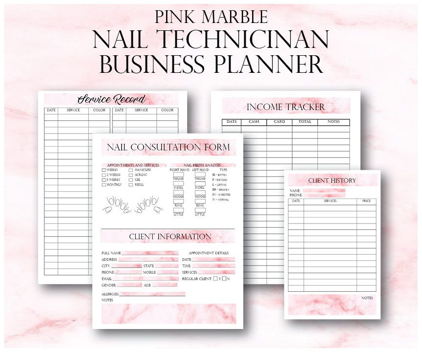 Nail Technician Forms, Pink Nail Artist Client Forms, Nail