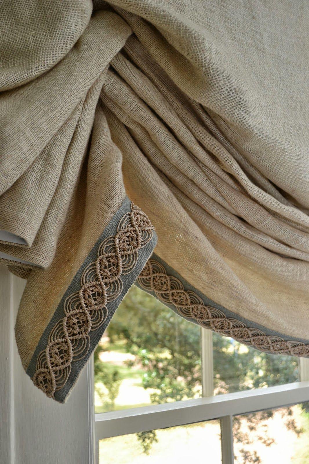 window treatment trim ... makes the natural linen fabric elegant