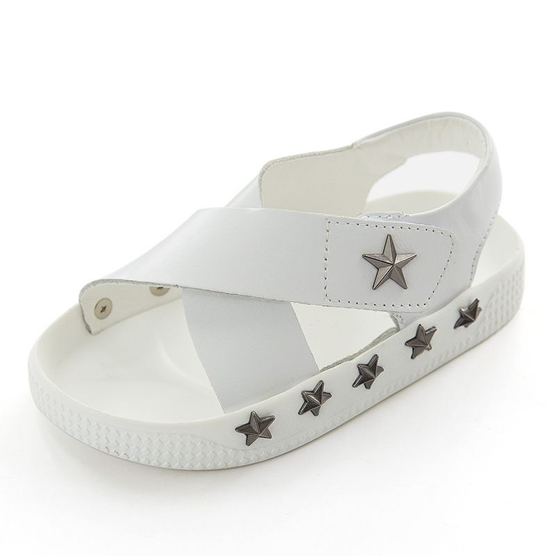 Kids White Sandals with Star Rivets Boys Girls Superstar Shoes Leather Shoes  for Summer Solid Color d935ca5adafa