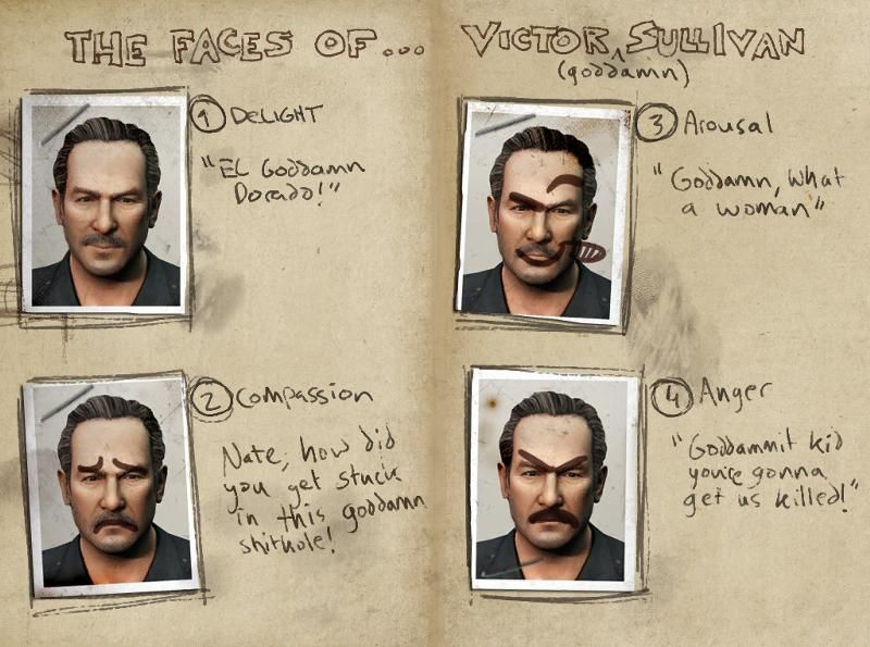 3 The Faces Of Victor Sullivan Uncharted Drake Uncharted Game