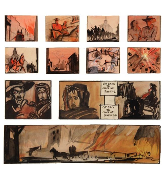 Storyboards by William Cameron Menzies, for Gone with the Wind.