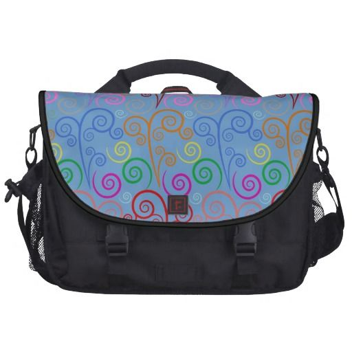 Cute multi colorful swirl pattern design bag for laptop