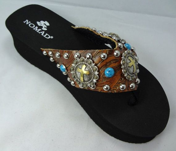 Cross Concho Flip Flops With Turquoise Rivets By
