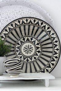 Moroccan ceramic plate flower black 35 cm