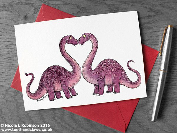 Dinosaur Love Card, Dinosaur Wedding Card, Dinosaur Engagement card, Anniversary Card, Valentine's Day, Diplodocus, Dinosaur greeting, Pink by TeethandClaws on Etsy https://www.etsy.com/uk/listing/264329696/dinosaur-love-card-dinosaur-wedding-card
