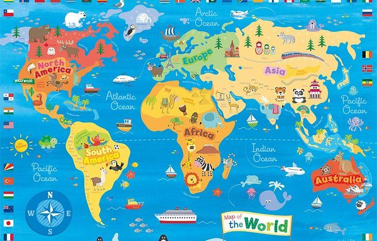 Cute Map Of The World For Kids Mapa Mundi Mapa Mundi Infantil Mapa