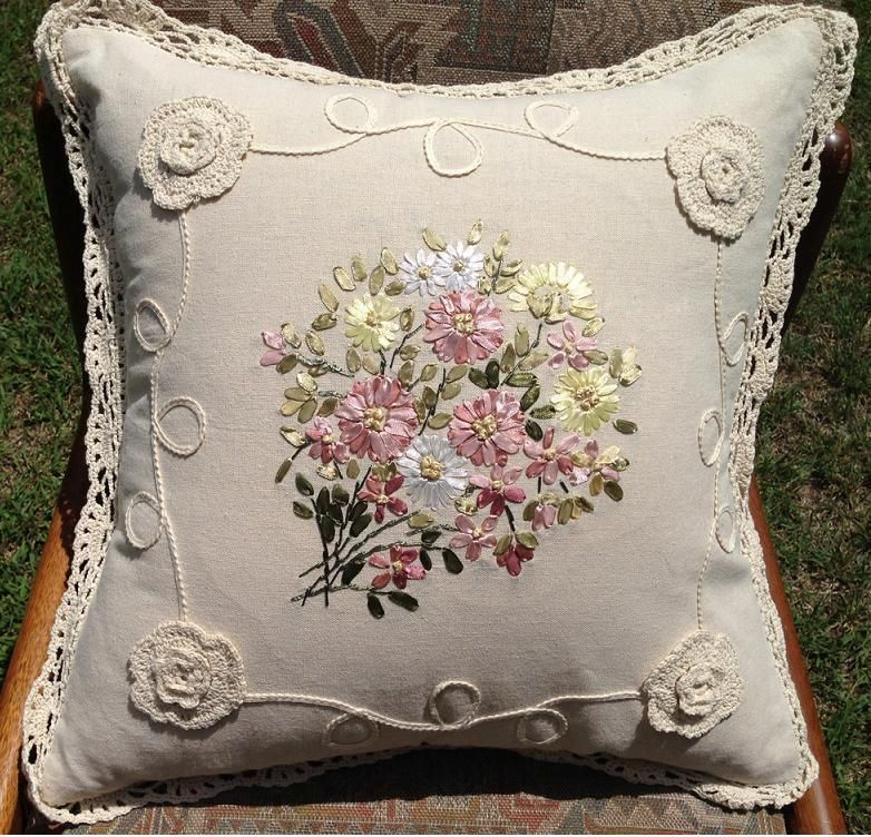 Exquisite Silk Ribbon Embroidery Hand Crochet Lace Cushion