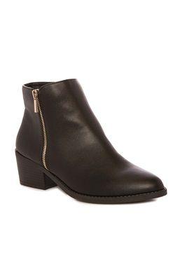 Black PU Side Zip Boot