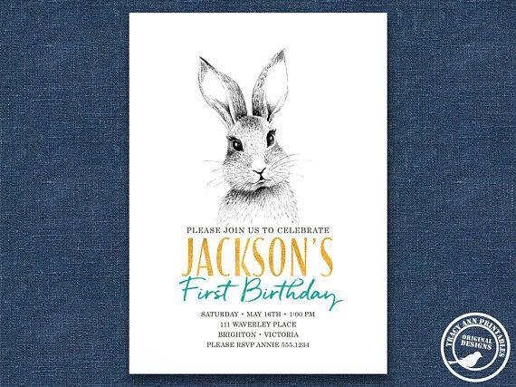1st Birthday Bunny Invitation