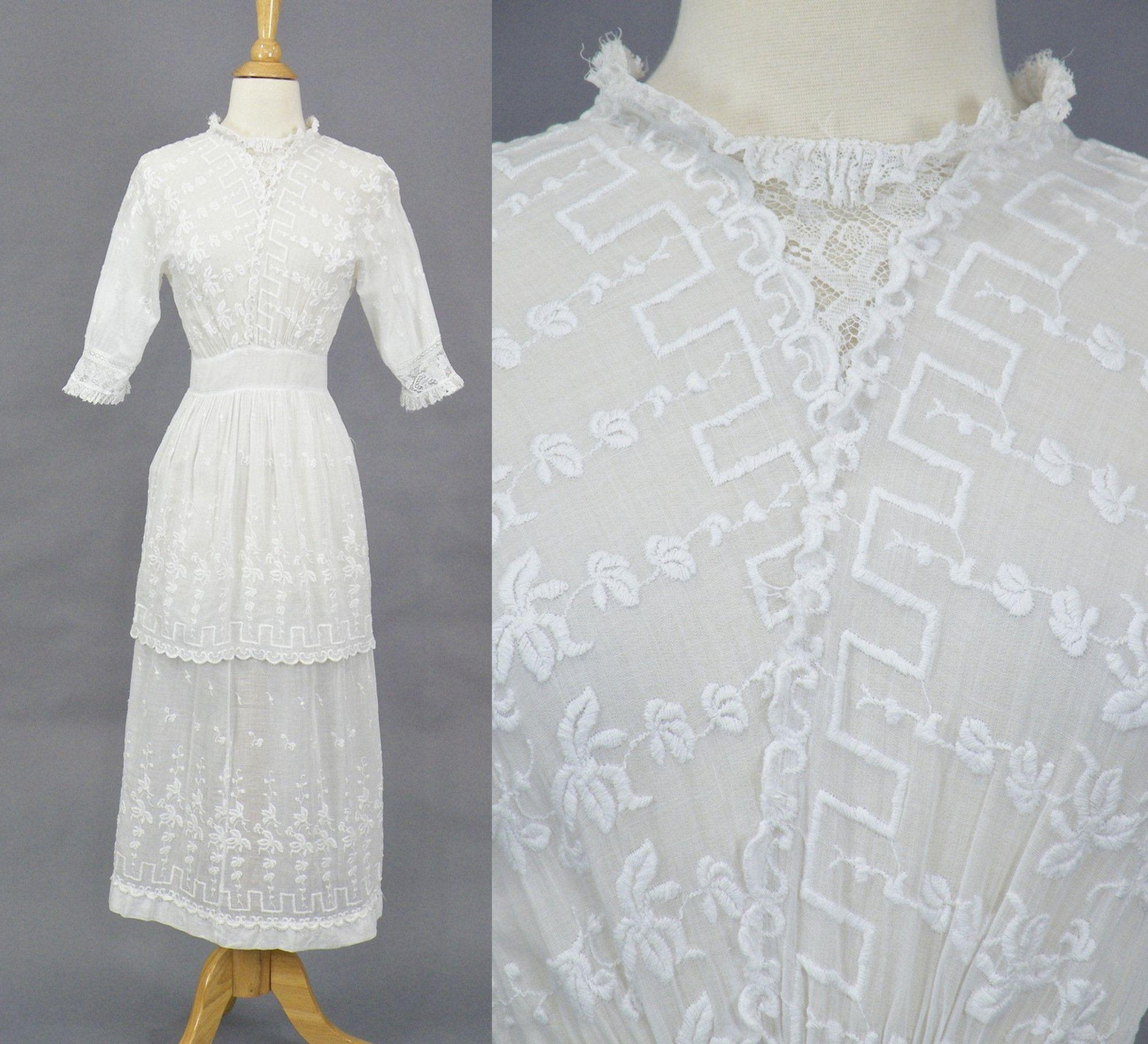 Antique white edwardian tea dress embroidered s cotton lace