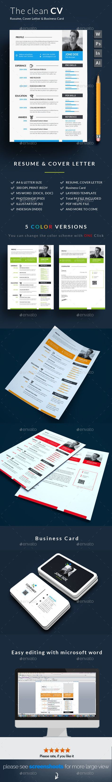 Clean Resume/CV Template PSD, InDesign INDD, AI Illustrator, MS Word ...
