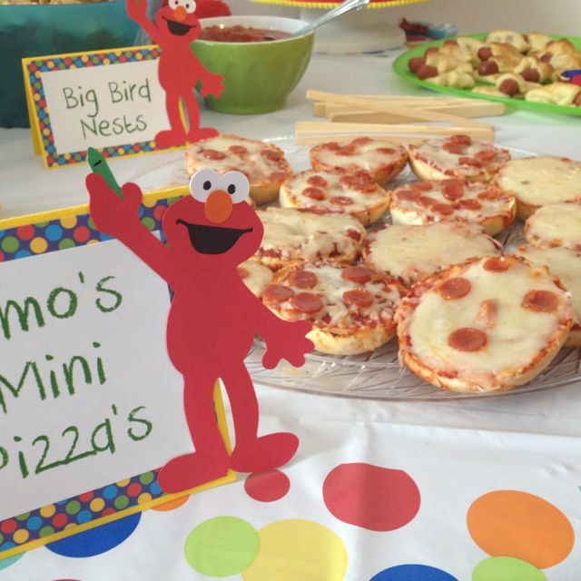 "Sesame Street Party Food: Elmo's Mini Pizza. These ""giant"