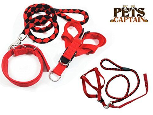 Petscaptain Pet Leashharnessand Collar Bundle Set For Large Dogs And