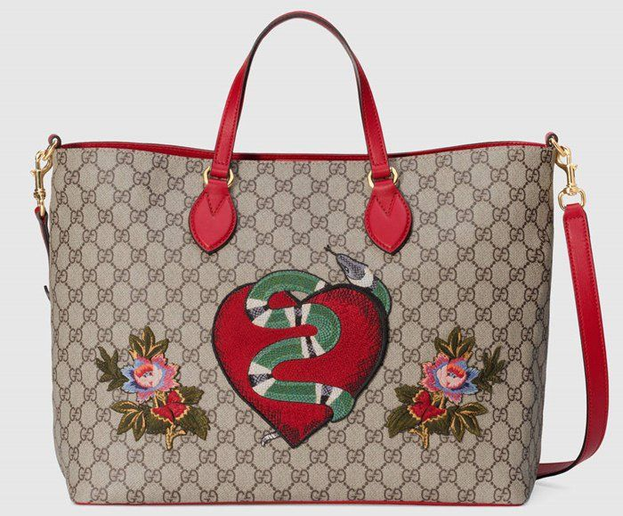 The Gucci Limited Edition Soft Gg Supreme Tote Features A Snake