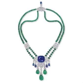 A SAPPHIRE, EMERALD AND DIAMOND PENDENT NECKLACE/BROOCH, BY CARTIER ..CHRISTIE'S