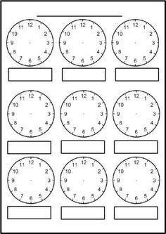 Free printable blank clock faces worksheets | Clock ...