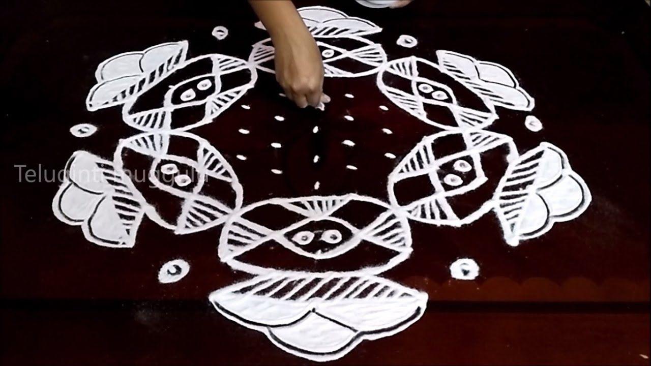 Bhogi Kundalu kolam designs with13-7 middle | chukkala muggulu with dots...