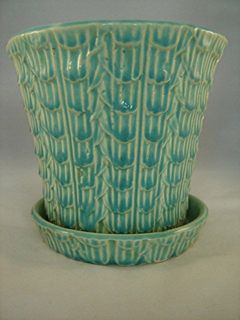Vintage Mccoy Large Green Fish Scale Flower Pot Planter 1930 S 40 S Clean Pottery Art Vintage Flower Pots Antique Pottery
