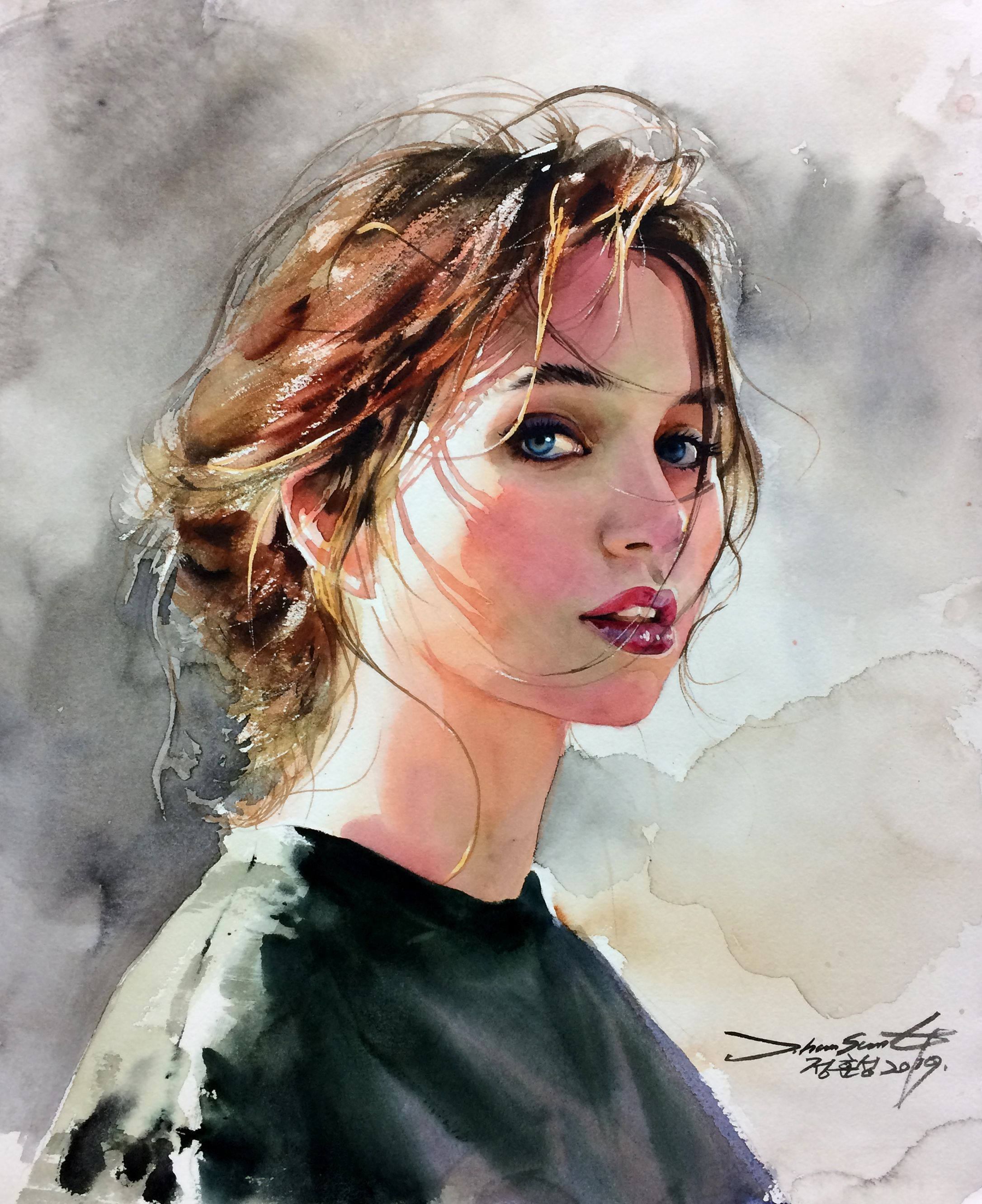 인물화 인물수채화 수채화 Art Artwork Watercolor Portrait Paintings