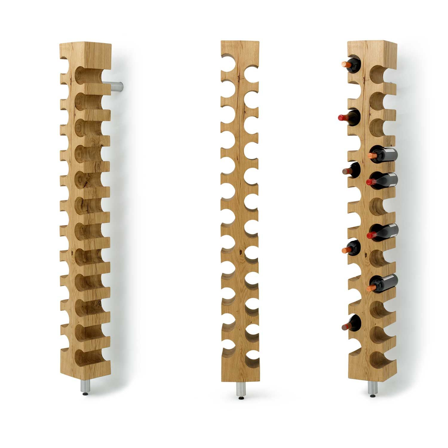 Furniture. curvy hole brown wooden wall wine racks with
