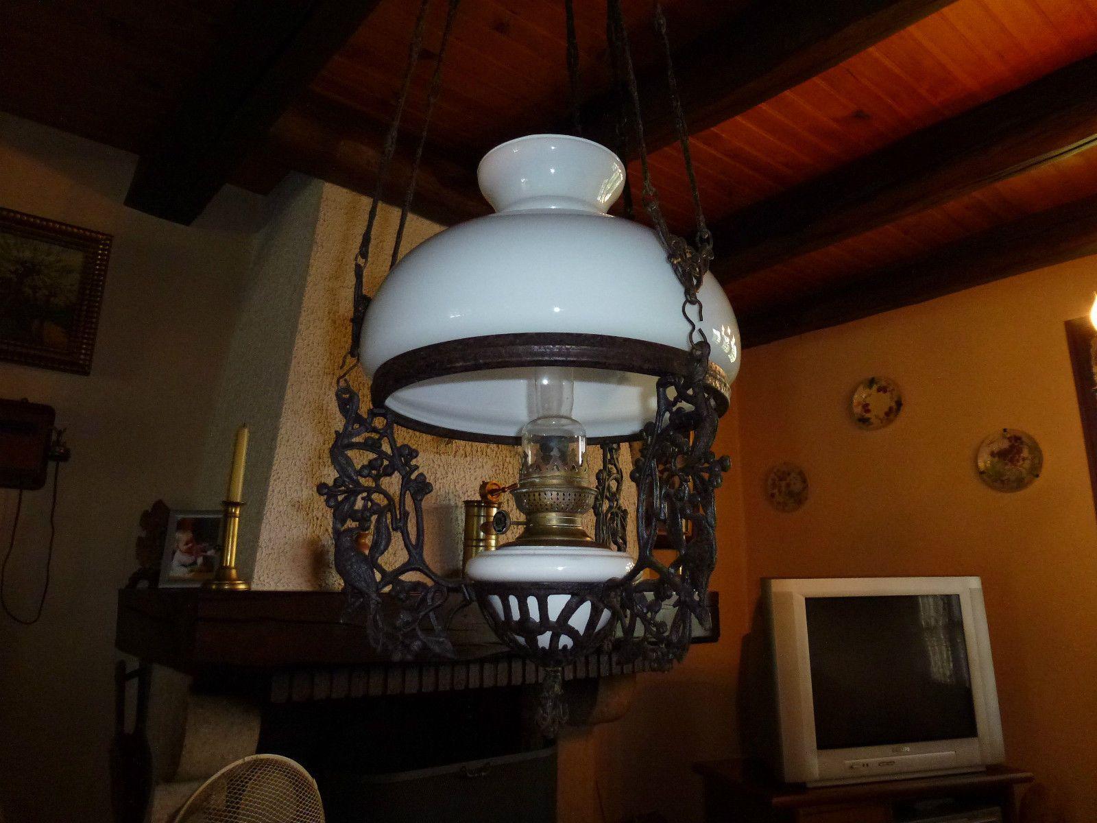 ancien lustre suspension a petrole du xix me eur 180 00 picclick fr luminaires pinterest. Black Bedroom Furniture Sets. Home Design Ideas