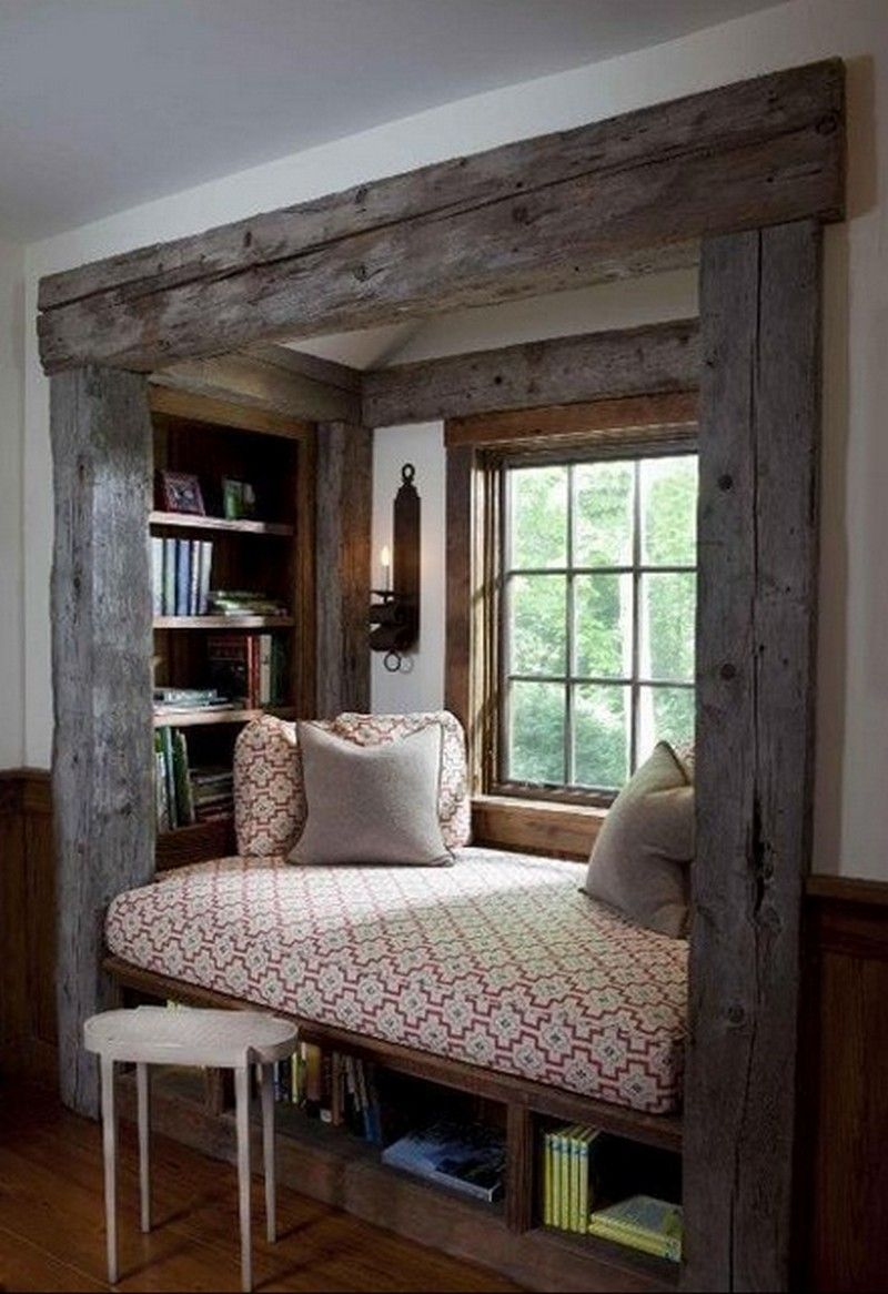 Window seat with bed  window seats  pinterest  bed nook window and small windows