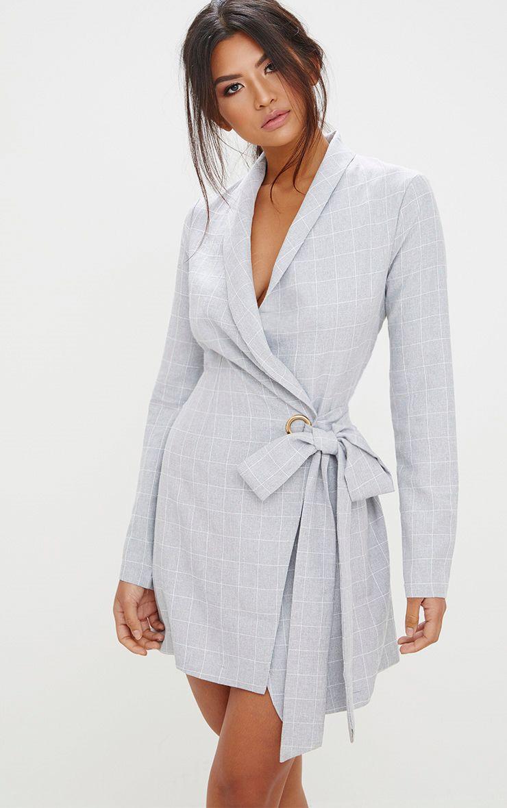 408e94ee07 Dove Grey Long Sleeve Wrap Skirt Bodycon Dress | PrettyLittleThing USA