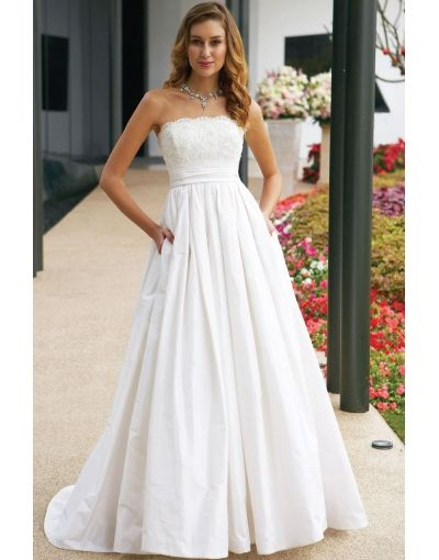 8d704ae65c4 Discount Taffeta Strapless Sweep Train Beading High Waist Lace Wedding Dress   wedding0035  - US  185.99   IdoDress