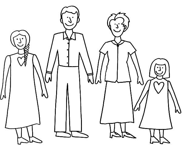 Joint Family Simple Coloring Pages