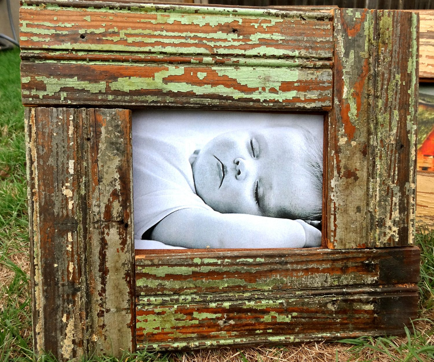 Reclaimed Wood Frame - use the old painted board stored in our shed ...