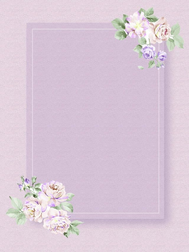 Bahan Hijau Bunga Mawar Latar Belakang Ungu Sederhana Cat Air Bunga Bingkai Bunga Poster Bunga