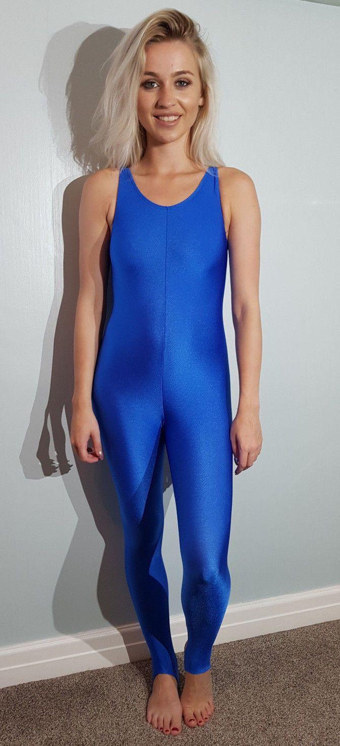 Blue Shiny Sleeveless Catsuit Unitard Body Lycra Dancewear Spandex S UK 8  32