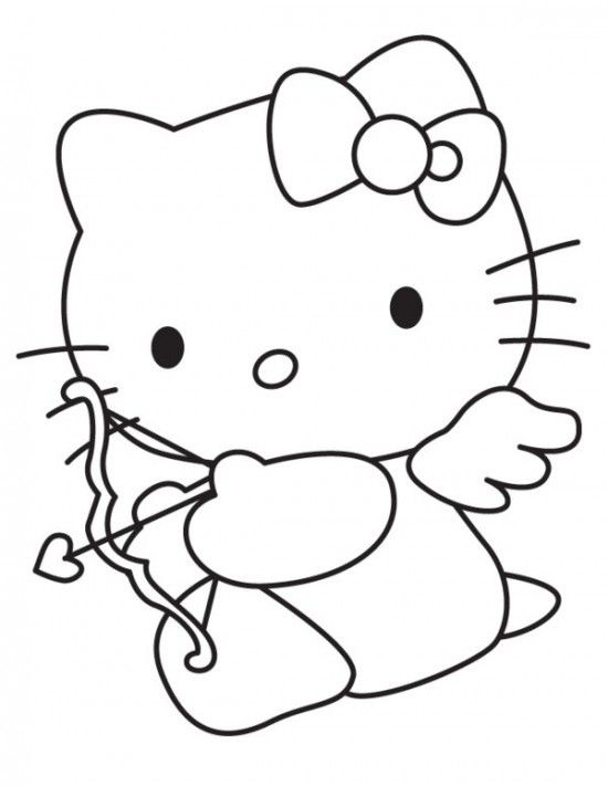Free Cupid Hello Kitty Happy Valentines Day Coloring Page Picture