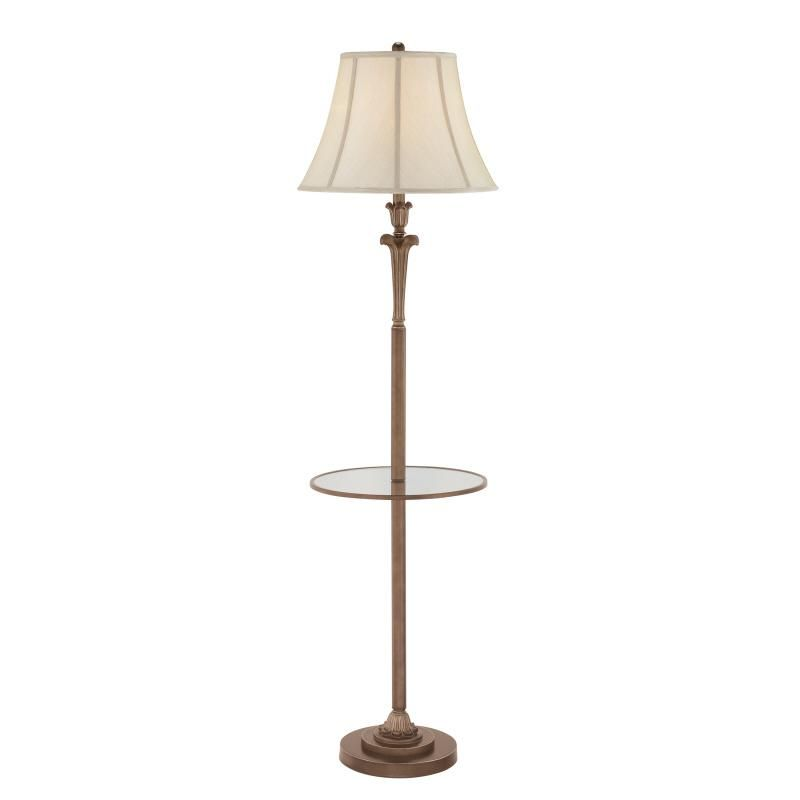 Quoizel one light palladian bronze biege softback shade shade floor lamp annapolis lighting