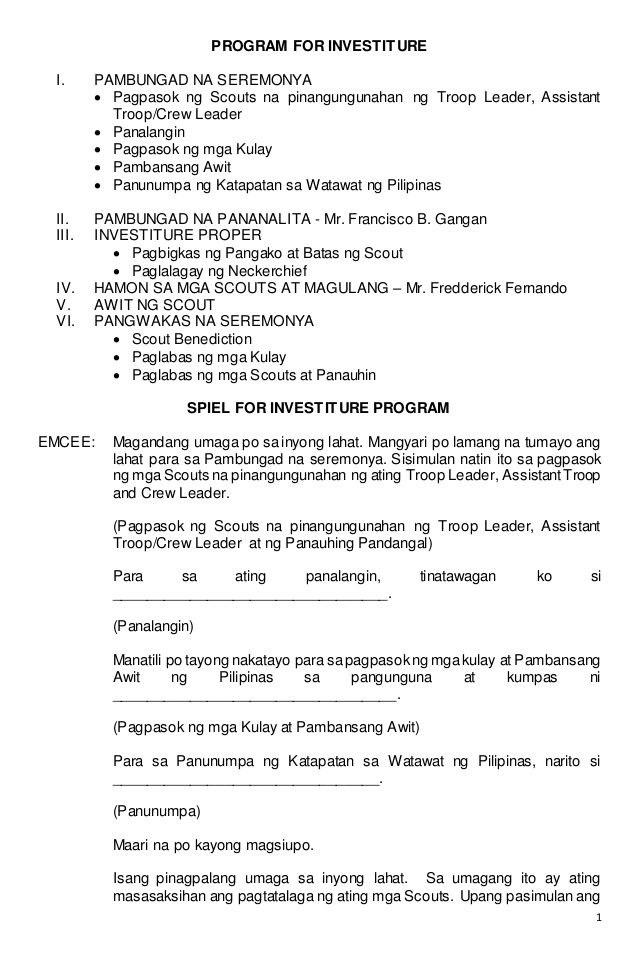 1 PROGRAM FOR INVESTITURE I PAMBUNGAD NA SEREMONYA  Pagpasok ng - remedy administrator sample resume