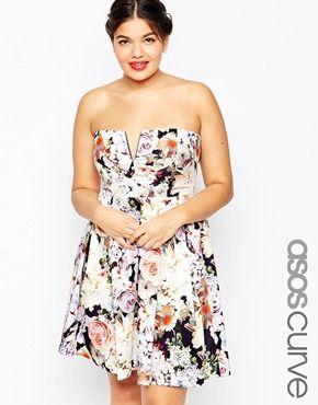 ASOS CURVE WEDDING Notch Bandeau Floral Mini Dress