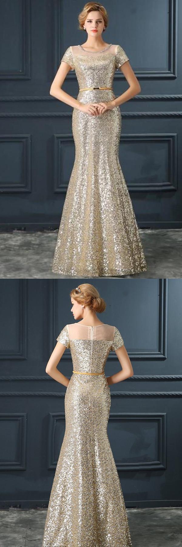 Stunning jewel short sleeves floor length sequined mermaid prom