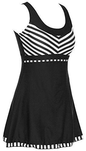 a433e13d4e DANIFY Women's One Piece Sailor Striped Swimsuit Plus Size Swimwear Cover  up Swimdress