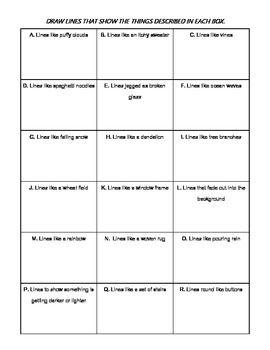 Free -- Different Kinds of Line Worksheet Freebie | Art Elements ...